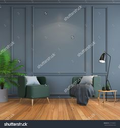 vintage  interior room , Contemporary furniture,luxury decor,green chair  black lamp on wood flooring and dark gray frame wall /3d render