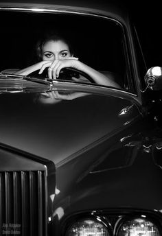 Car Girl The Gentleman Racer® was started over a decade ago by Michael as a place to share photos and stories from his automotive and motorcycle adventures. It has grown into an online magazine covering cars, art, fashion, and culture. Black White Art, Black White Photos, Black And White Photography, Rolls Royce, Woman In Car, Car Girls, Old Cars, My Images, Vintage Cars