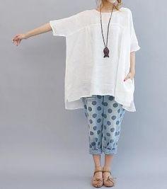 Summer Ultra loose linen doll long shirt/ Asymmetrical by MaLieb by Lieb Ma