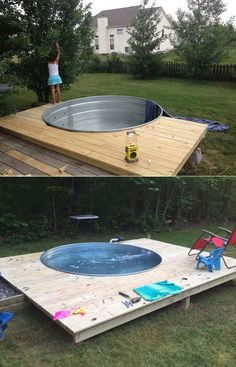 Galvanized Stock Tank Turned Into Backyard Private Pool - Piscina Backyard For Kids, Backyard Projects, Outdoor Projects, Diy Projects, Diy Swimming Pool, Diy Pool, Natural Swimming Pools, Piscina Diy, Galvanized Stock Tank