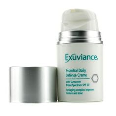 Exuviance Essential Daily Defense Creme Spf 20, 1.75 Fluid Ounce. An anti-aging day cream with glycolic acid and gluconolactone to brighten skin tone. Contains a unique combination of alpha and polyhydroxy acids. Offers multi-antioxidant protection.