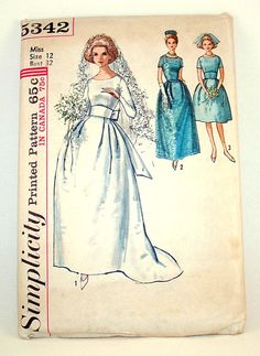 1963 Vintage Wedding and Bridesmaid Dress Sewing by LostUponATime, $8.50