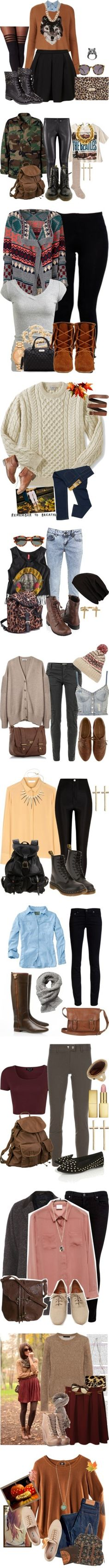 Unique fall outfits  I like most of them because they are different than the typical boots/cardigan/jeans combo that I sometimes get bored of!
