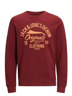 Red casual sweatshirt with chest print, 100% cotton for everyday wear   JACK & JONES