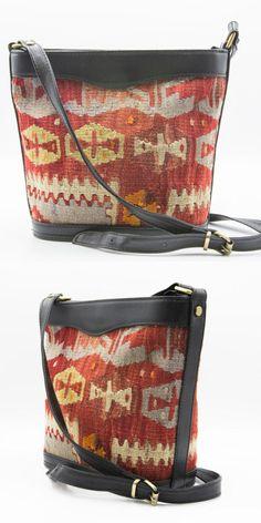 0e7b035196e Leather Handmade Small Kilim Bucket bag shoulder bag crossbody bag  Crossbody Bags