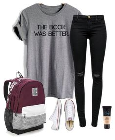 """School"" by halledaniella ❤ liked on Polyvore featuring J Brand, Converse, Maybelline and Victoria's Secret"