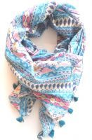 Aztec blue and pink scarf.