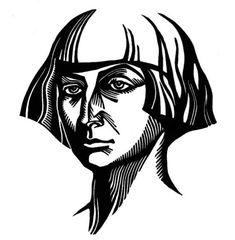 Marina Tsvetaeva Russian poet linocut