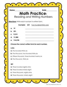 FREE - Reading and Writing Numbers in Expanded Form, Standard Form and Written Form - 8 activities, 19 pages.