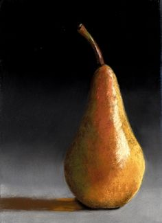 Another Simple Pear pastel painting, painting by artist Ria Hills