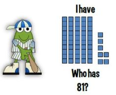 Math Coach's Corner: Baseball Place Value I Have/Who Has (Tens and Ones) FREEBIE. Baseball-themed I Have/Who Has cards feature pictorial representation of 2-digit numbers.