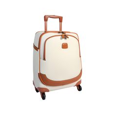Travel in style with this Bojola Carry On Trolley Suitcase from Bric's. Small enough to be used as hand luggage it has been made from durable PVC in elegant cream tones and finished by complementing