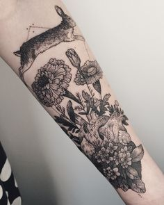 Rabbit jumping over a heart bursting with marigolds and violets. Thanks Mary! Unique Tattoos, Beautiful Tattoos, New Tattoos, Body Art Tattoos, Sleeve Tattoos, Cool Tattoos, Tatoos, Inspiring Tattoos, Arrow Tattoos