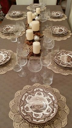Christmas table- Tavola di Natale Love this name! Doilies Crafts, Crochet Doilies, Christmas Table Decorations, Decoration Table, Doily Art, Deco Table Noel, Crochet Decoration, Creation Deco, Lace Decor