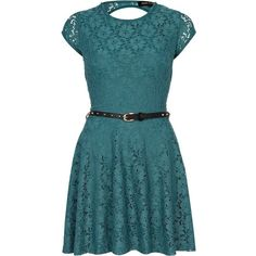 River Island Green Lace Skater Dress  found on Polyvore