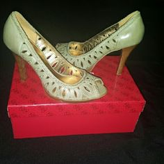 Guess Peep-Toe Pumps 4 inch olive green Guess pumps. Guess by Marciano Shoes Heels