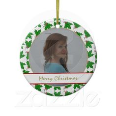 Personalized Picture Holly Ornament