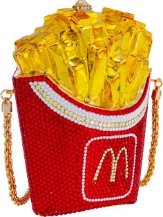 Luxury Accessories:Bags, Kathrine Baumann Limited Edition Full Bead Red Crystal McDonald'sFrench Fries Minaudiere Evening Bag. Very Good Condition... Image #1