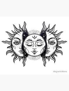 Tattoo Design Drawings, Art Drawings Sketches, Tattoo Designs, Tattoo Ideas, Sun And Moon Tapestry, Moon Drawing, Neue Tattoos, Tattoo Stencils, Future Tattoos