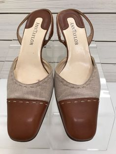 e17efcc3ef8dcb Ann Taylor Made In Italy Womens Kitten Heels SZ 6.5M Brown Leather Sling  Back