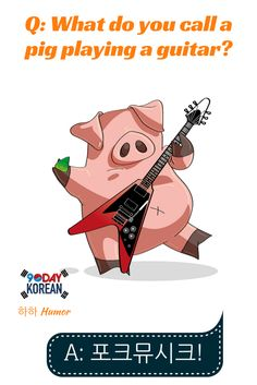Time for some 하하 Humor. Here's today's Konglish joke!  Q: What do you call a pig playing a guitar? A: 포크뮤시크!  Do you know what the word 포크뮤시크 means? Post your answer below and help explain the joke to others.  Repin if you liked this joke!