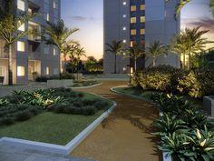 Praça arborizada dentro do condomínio. Um convite para caminhar e relaxar!
