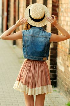 Sleeveless Denim Vest, Dusty Rose Pleated Mini Skirt with Cream Lace Detail, Straw Hat with Black Ribbon // indie