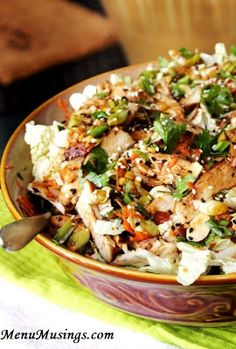 Grilled Ginger-Sesame chicken salad.  Step-by-step photo directions.