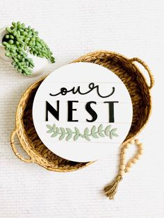 raised wood round pallet wood wall decor Our Nest,farmhouse inspired wall decor our nest sign, spring wall decor, laurel cutout wood sign – Diy Home Decor Wood Pallet Wall Decor, Diy Wall Decor, Old Wood Ladder, Wood Pallets, Pallet Wood, Wood Rounds, Wood Cutouts, Palette, Diy Pallet Projects