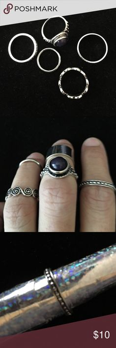SET OF 5 MULTI SIZE/STYLE RINGS SILVER PLATED NIP BRAND NEW SET OF 5 SILVER PLATED FAUX STONES RINGS ALL MULTI STYLE ALL MULTI SIZE NEW IN PLASTIC Jewelry Rings