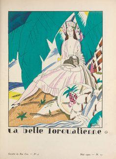 """""""La Belle Torquatienne,"""" plate 25 from Gazette du Bon Ton, Volume No. Art Deco Fashion, Fashion Prints, Fashion Design, Art Deco Artists, Stock Photo Girl, Estilo Art Deco, Art Deco Stil, Beach Print, Fashion Images"""