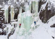 Jégmászók a norvégiai Rjukanban 2018. február 12-én. MTI Fotó: Mohai Balázs