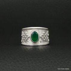 Onyx+vert+naturel+bague+Style+byzantin+925+par+IreneGreekJewellery