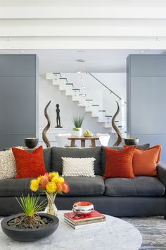 Courtyard Residence By LDa Architecture U0026 Interiors. Brighten Up A Gray  Sofa With Orange Brown Cushions. Courtyard Residence Living Room ...