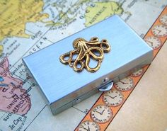 Octopus Pillbox Tiny Silver Pill Box With Gold by CosmicFirefly, $35.00