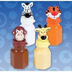 24 ZOO Animal Jungle Characters Bubble Bottles Lion Zebra Giraffe Monkey Tiger Elephant