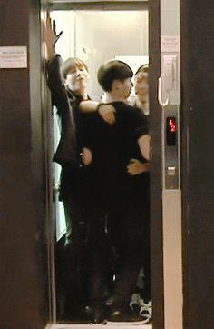 "bts-gfx: "" huddling into a tiny elevator ""<<<<< All i see is Jikook"