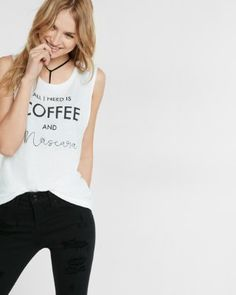 express one eleven coffee and mascara muscle tank