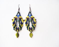 Tribal micro macrame, knotted earrings - Yellow Green Blue Brown