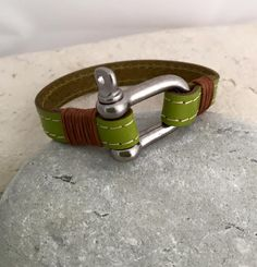 Handmade green leather bracelet with stainless steel pin shackle clasp