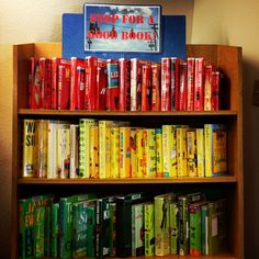 """Stop for a Good Book"" - Red, Yellow, and Green book covers. Book Displays at MPL by montereypubliclibrary, via Flickr."