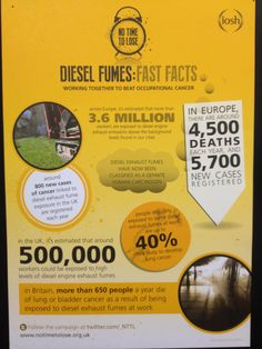 Some of the facts about diesel fumes being highlighted by IOSH's No Time to Lose occupational cancer campaign, which were on show at the conference