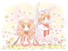 Bunny America and Bunny England with ribbons