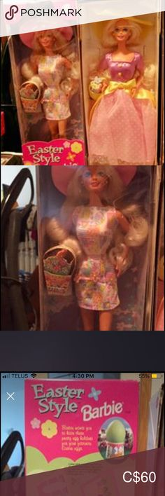 Barbie set of 2 special edition springtime dolls Brand new one is from 1997 for Easter and the other springtime if from Avon from 1995 Barbie Other Barbie Sets, Pink Yellow, Spring Time, Avon, Congratulations, Kids Shop, Easter, Dolls, Closet
