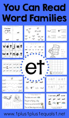 _et Word Family Printables from 1plus1plus1equals1 on TeachersNotebook.com -  (25 pages)  - et word family printables