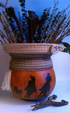 Team Roping Silhouette Gourd with Antique Barbed Wire Arrangement