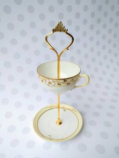 Gold mini Floral Vintage 2 Tier - Tea Cup Cake Stand Jewelry Holder Trinket Plate Upcycled Vintage Tea Sets