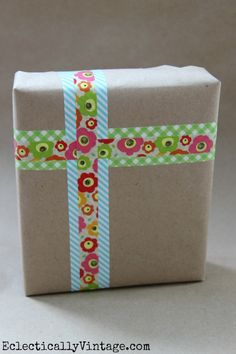 Washi Tape is perfect gift wrapping!  One of 5 fun decorative tape ideas at eclecticallyvintage.com