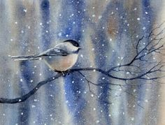 Woodland Chickadee - Watercolor Painting - by Barbara Fox - Picture Colors: Blue, Gray, touch of pink and black Watercolor Bird, Watercolor Animals, Watercolor Paintings, Original Paintings, Watercolors, Bird Paintings, Winter Painting, Painting & Drawing, Fox Painting