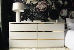 Malm Vintage Style Gold Dresser - IKEA Hack with gold contact paper